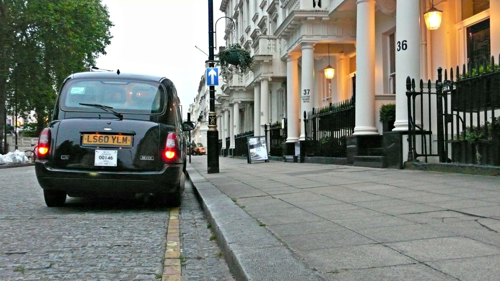 A London cab waits down the street from the Georgian House Hotel. (Ben Maloney)