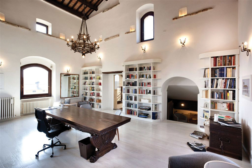 Inside the 14th-century castle that has been restored as the Brunello Cucinelli headquarters.