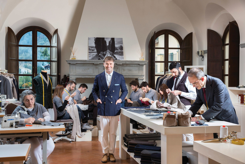 "Brunello Cucinelli calls his employees ""thinking souls,"" each trained in artisanal skills of tailoring and mending within the village's School of Craftsmanship."
