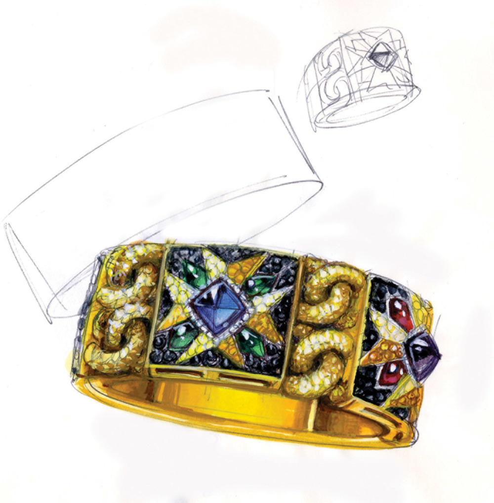 Bodino's beautiful sketches of the Rosa dei Venti bracelet and ring. Photo courtesy of Giampiero Bodino