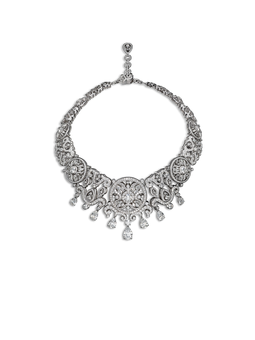 The Corona Necklace sparkles with diamonds and white gold. Photo by Laziz Hamani