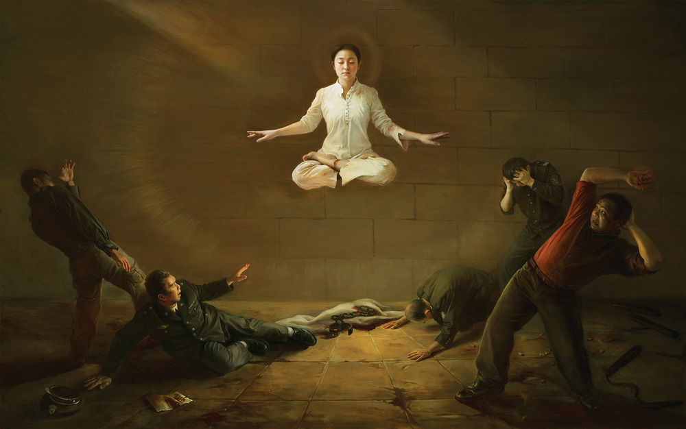 """""""Shock,"""" 2009, by Xiaoping Chen, oil on canvas, (48 x 75 inches). A Falun Dafa practitioner emanates righteousness and compassion to her torturers."""