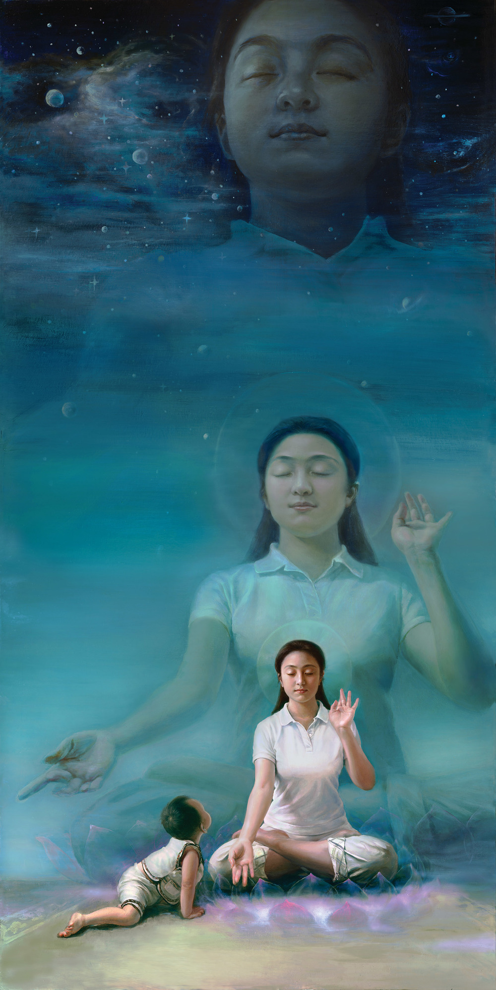 """""""My Mom,"""" 2012, by Xiaoping Chen, oil on canvas (36 x 72 inches). A child gazes upon his mother whose tranquil meditation integrates her bodies in other dimensions."""