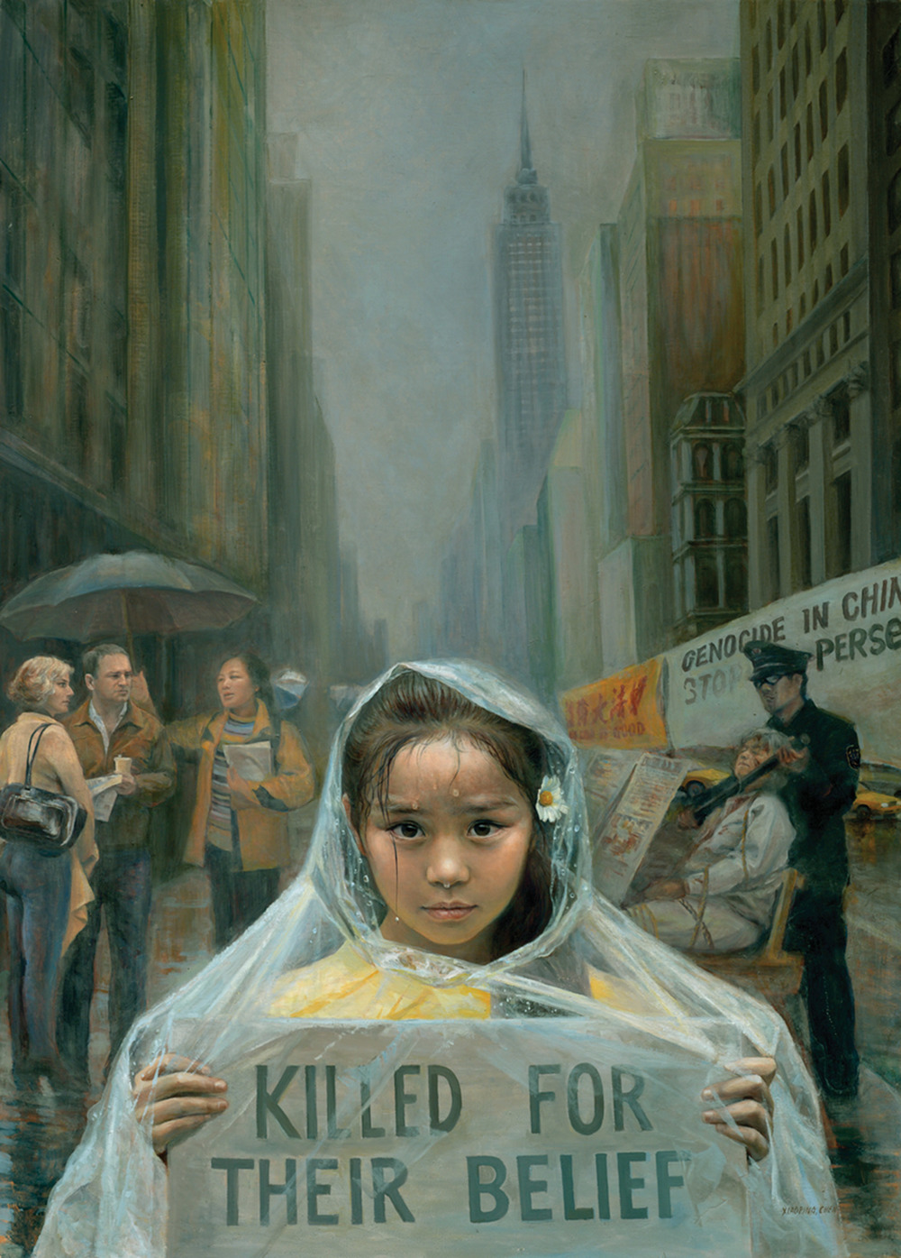 """""""Call of innocence,"""" 2005, by Xiaoping Chen, oil on canvas (26 × 36 inches). A young child awakens your conscience with her moral conviction to end the persecution of Falun Dafa pactitioners, whose organs are being harvested against their will in China."""