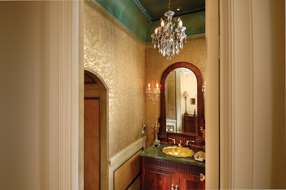 "Homeowners wanted ""wow,"" and painter Dan Campbell delivered with a glamourous powder room featuring golden tapestries and glazed ceiling."