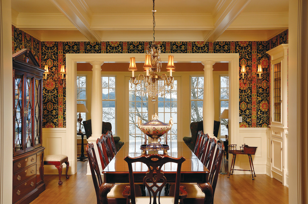 Design firm Richard Salter Interiors gave each room a theme, dressing up the dining room with iconic Brunschwig & Fils wallpaper for regal refinement.