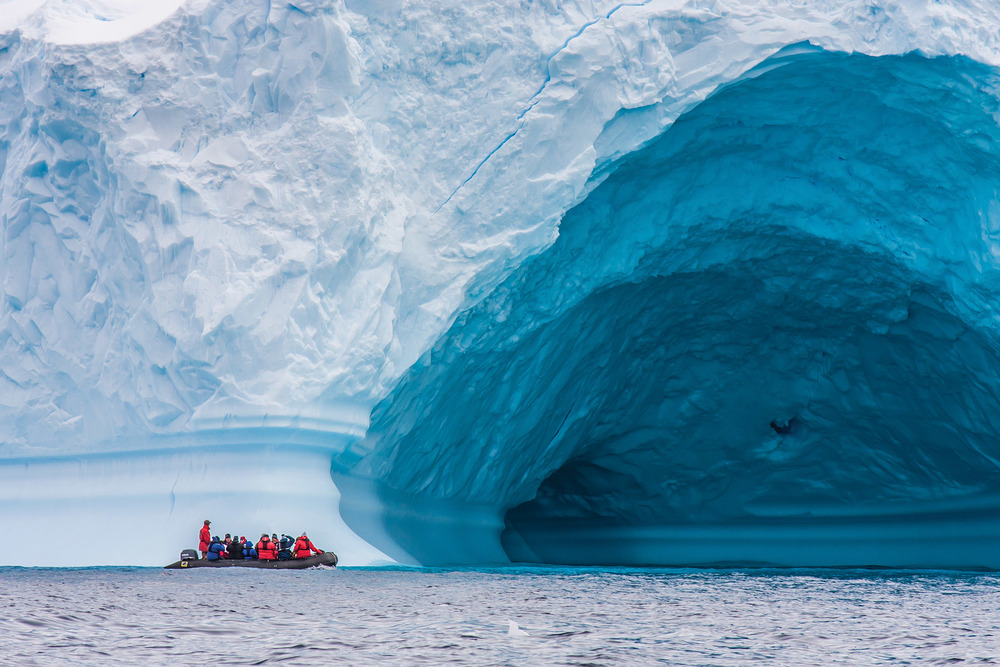 Inflatable zodiac boats are used to tour the seaside glaciers. These operate as the ship's tenders as well when travelling into a port. Katiekk / Shutterstock.com