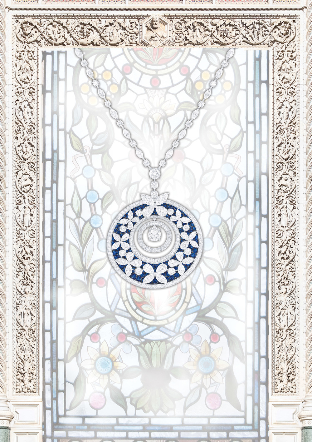 Graff Butterfly Motif Pendant  The elegant symmetry of nature's motifs plays with light captured through luminous jewels, evoking the delicate art of stained glass. Multi-shape sapphire (13.35 carats) and diamond (35.22 carats) pendant.  Price upon request, 710 Madison Avenue, 212.355.9292,  Graffdiamonds.com
