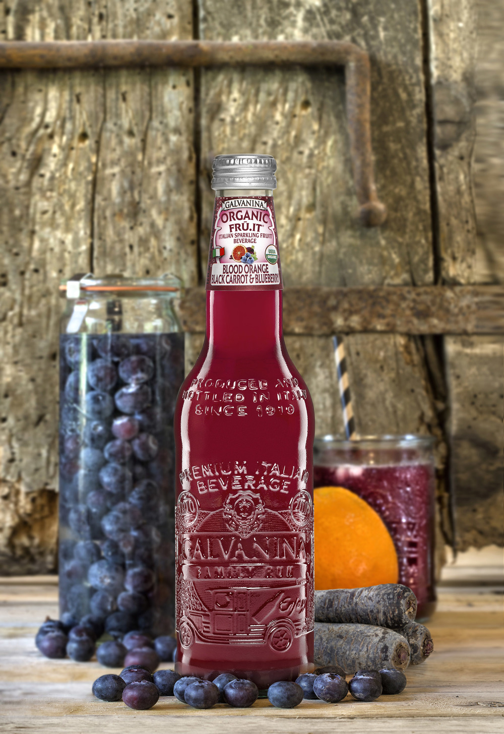 Sofi award winning Blood Orange, Black Carrot, and Blueberry flavored organic sparkling beverage.  (Image courtesy of La Galvanina)