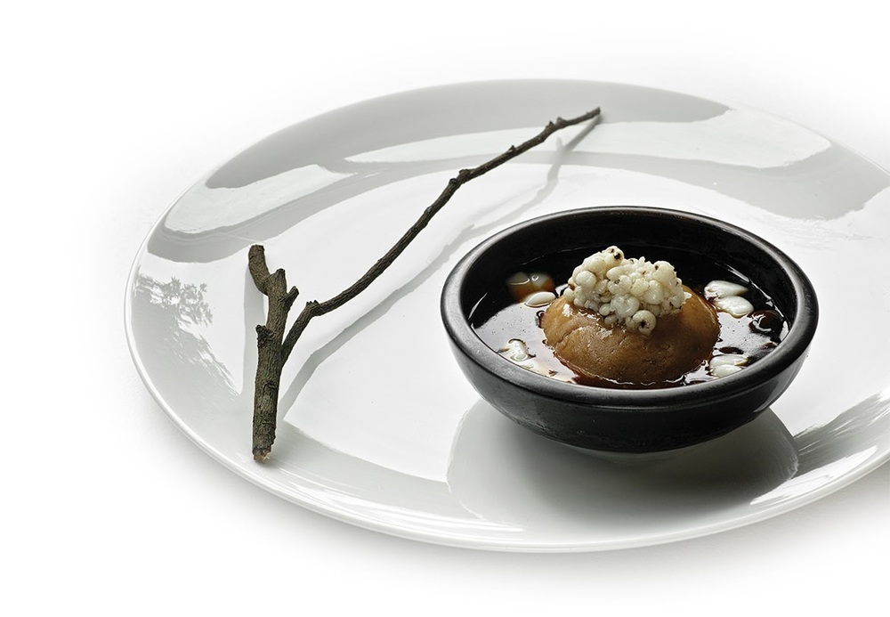 Taro balls, a traditional Taiwanese dessert made from root vegetables are plated in minimalist fashion.