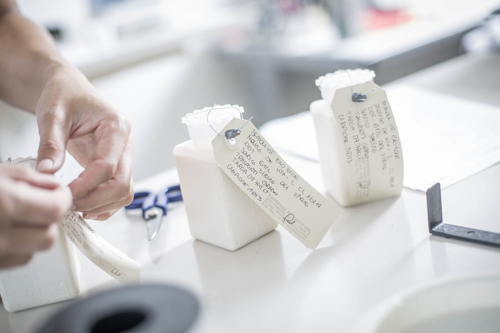 Labeling the semolina in the lab. (Image courtesy of Felicetti Pasta)