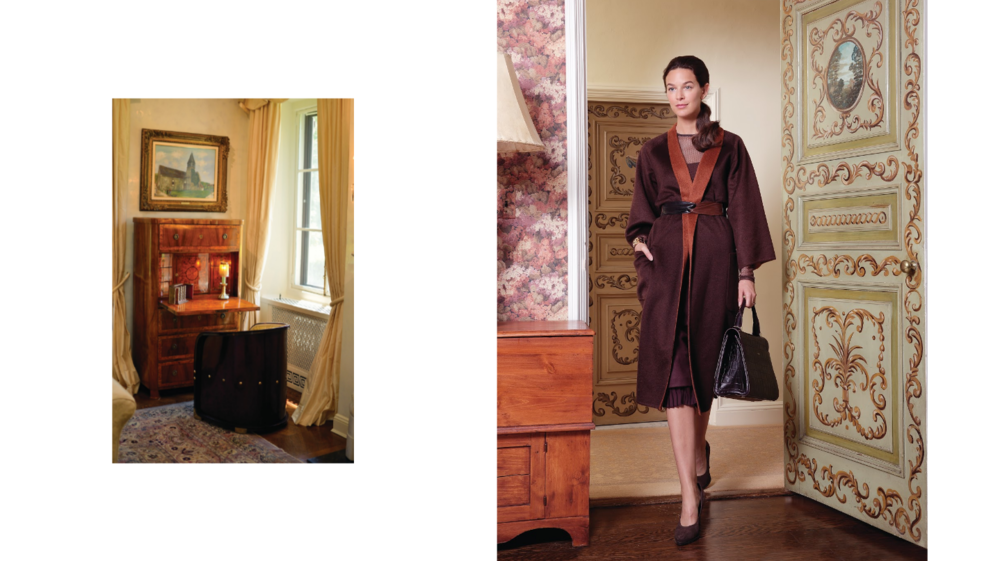 Verdura 18k Rose Gold Criss Cross Cuff    Price Upon Request  Max Mara Pure Cashmere Coat US$4,990 Jersey Skirt US$575 Stretch Jersey Knit Shirt US$450 Crocodile-Print Leather JBag US$1,185