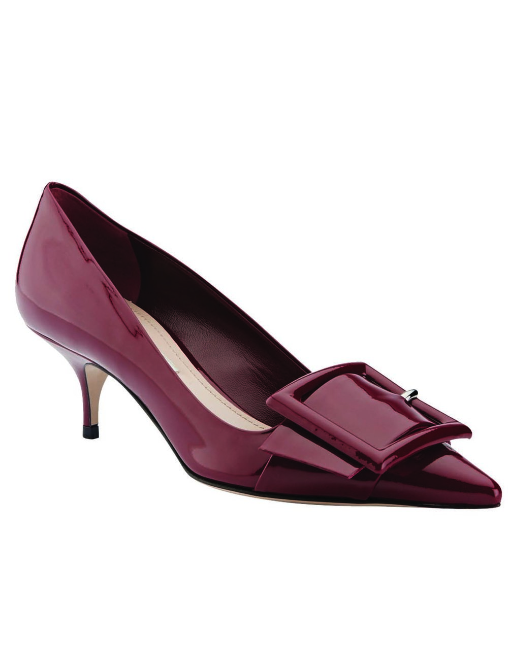 Miu Miu Patent Leather Point-Toe Buckle Pumps $850