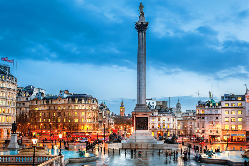 Trafalgar Square in central London is home to Nelson's Column, iconic stone lions, and Fourth Plinth. Shahid Khan / Shutterstock.com
