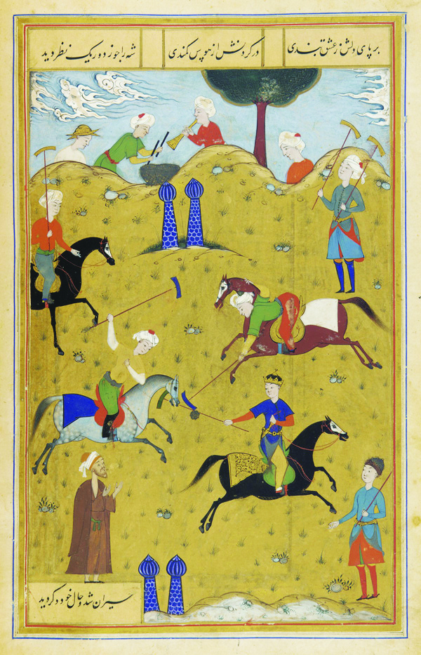 "Portrayal of the Persian poem Guy-o Chawgân (""the Ball and the Polo-mallet"") depicts Persian cavalry men on horseback playing a game of polo circa 1546 AD. Wikimedia"