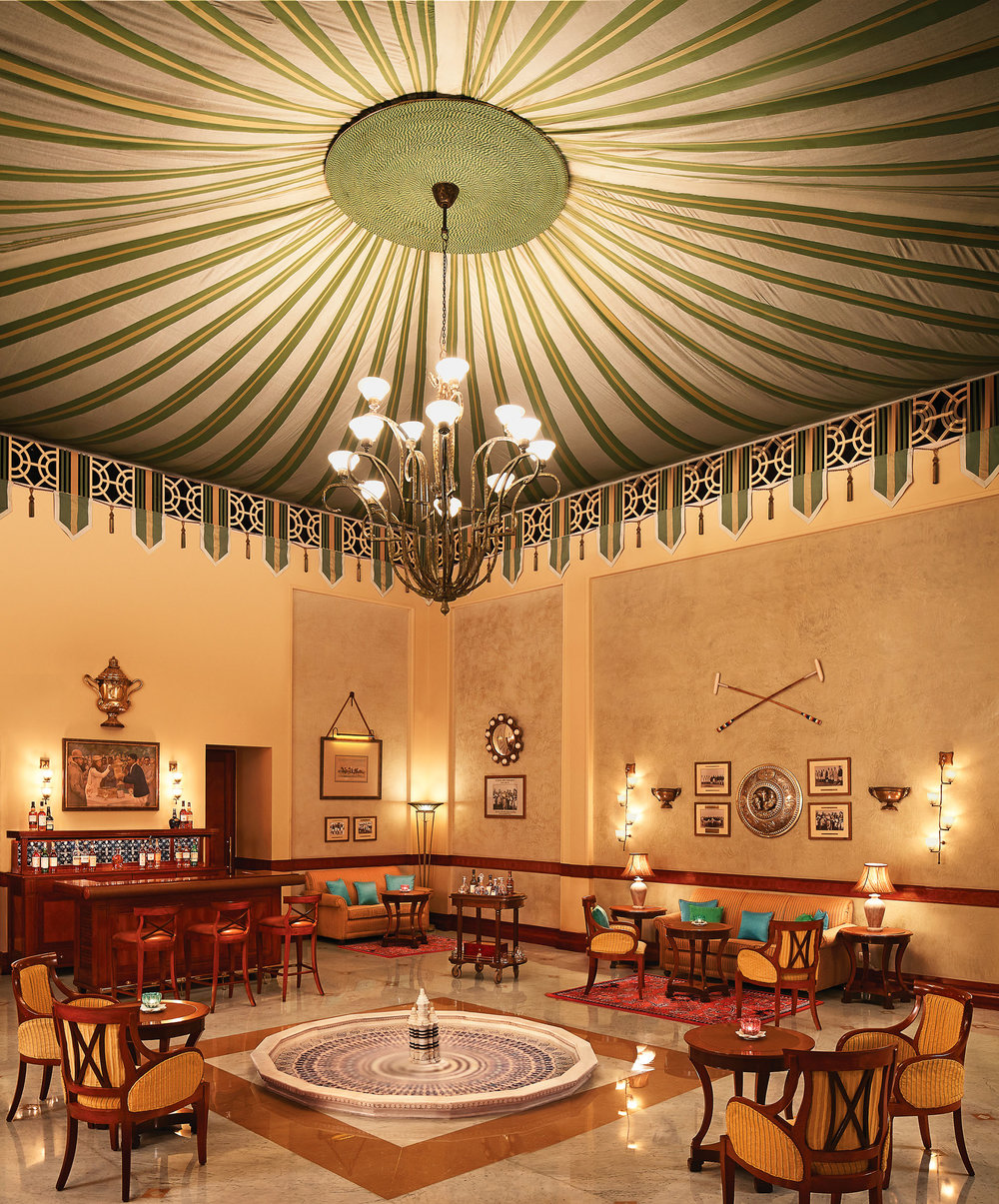 The tented Polo Bar of the Rambagh Palace makes one of the best martinis in northern India. The staff here will happily regale you with a tale of the Indian Polo Team. Photo courtesy of Taj Hotels Resort and Palaces