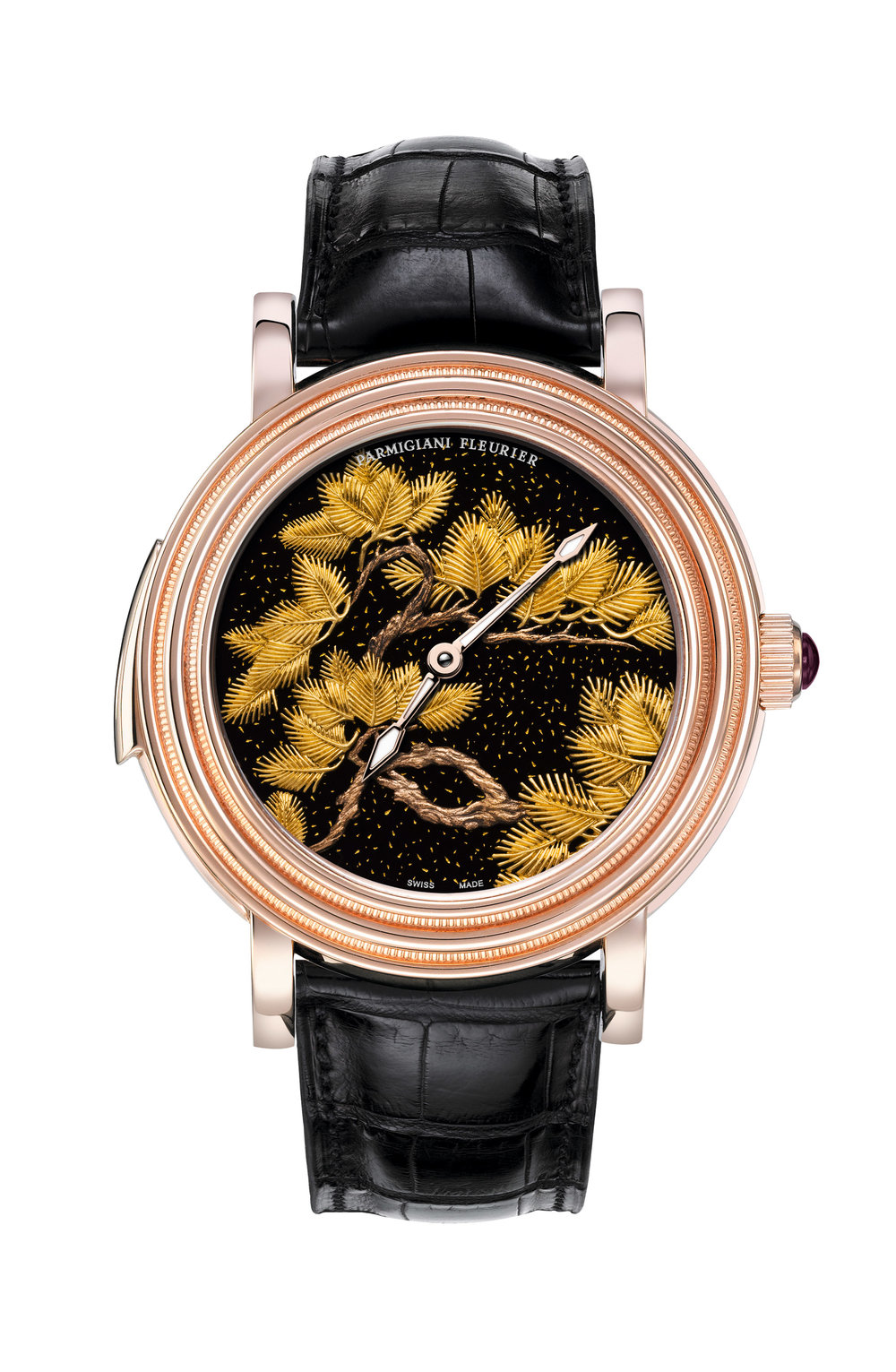 "Parmigiani  Toric Quaestor Watch Ref. PFH437-1001400-HA1441, $595,000  Requiring more than 70 hours of work to complete, the elaborate dial of the Parmigiani Toric Quaestor Watch showcases an extraordinarily detailed pine tree, a symbol of vitality and eternity in Asian culture, in the Japanese Maki-e style: engraved in black mother of pearl and filled with 24k gold dust. ""Cathedral"" chimes add melodic dimension, with the rose-gold case forged to ensure perfect acoustics for the minute repeater chime. Water resistance to 10 metres. Power reserve 72 hours.  At Palladio, (604) 685-3885,  parmigiani.com"
