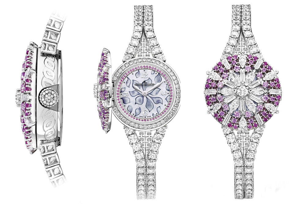 Jaeger-LeCoultre  Rendez-Vous Secret Watch Ref. 3553308, $342,000  Inlaid with 196 diamonds and 108 pink and red sapphires, the Rendez-Vous Ivy Secret watch takes its cue from the ivy plant, a symbol of life and passion. Edged with pavè gemstones, the crystal dial displays delicately etched ivy leaves in mother-of-pearl. The bejewelled cover opens with a light touch. Water-resistant to 30 metres.  At Boutique Jaeger-LeCoultre Vancouver, (604) 266-8333, jaeger-lecoultre.com