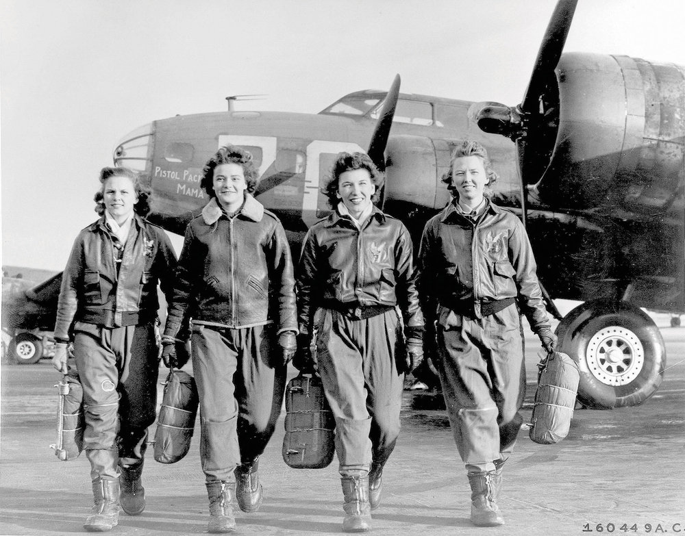 A group of women from the U.S. Airforce Service Pilots and B-17 Flying Fortress