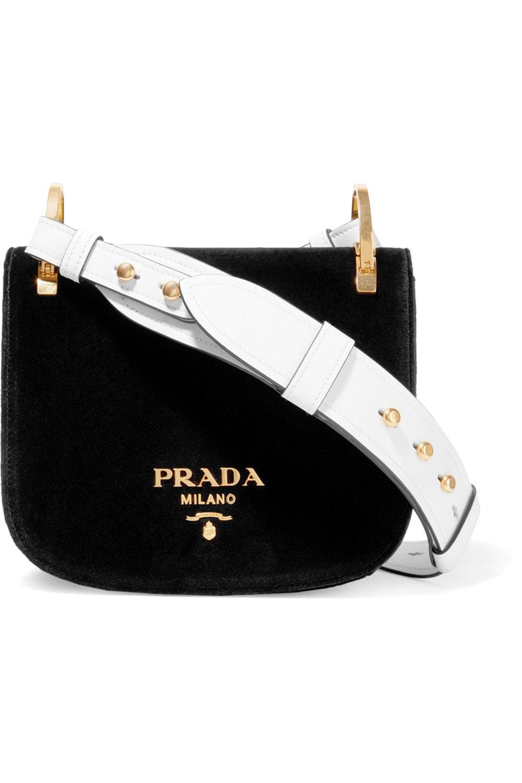 Prada Pionnière Velvet and Leather Shoulder Bag US$ 1,790