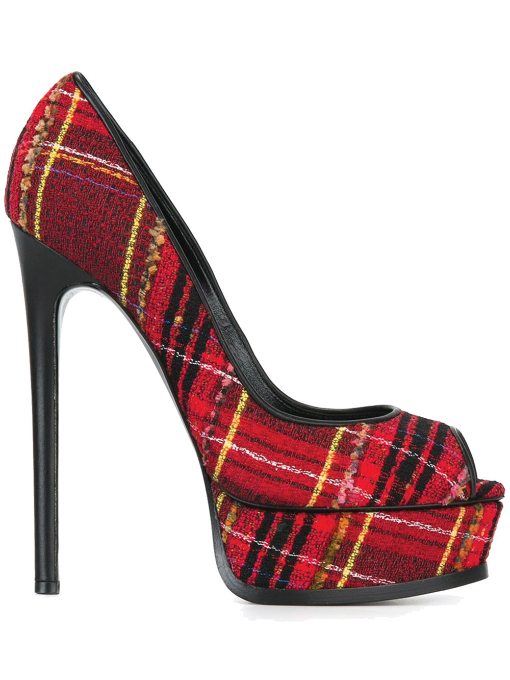 Casadei Checked Peep Toe Pump $1,052