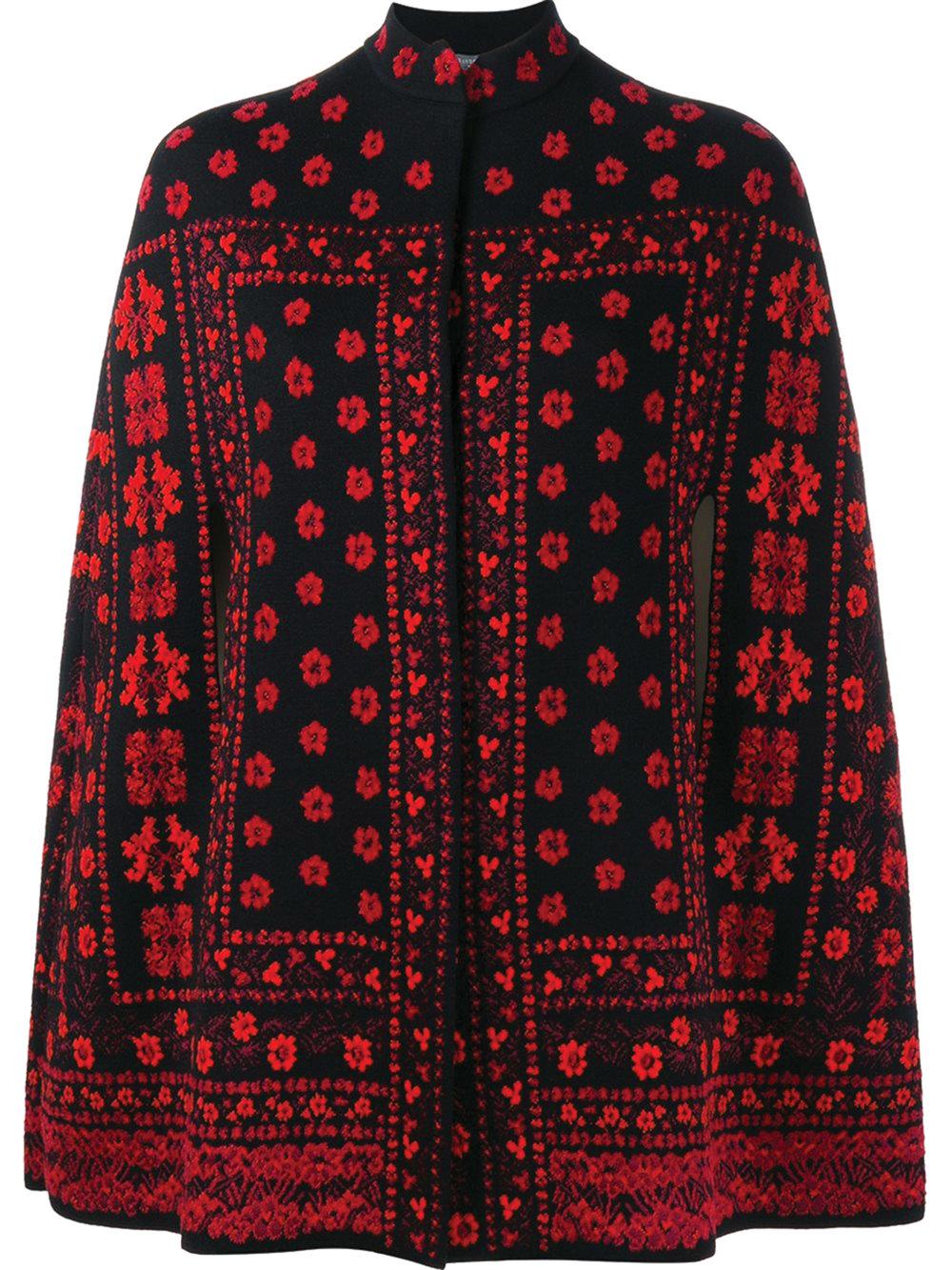 Alexander McQueen Floral Jacquard Knit Cape $2,990