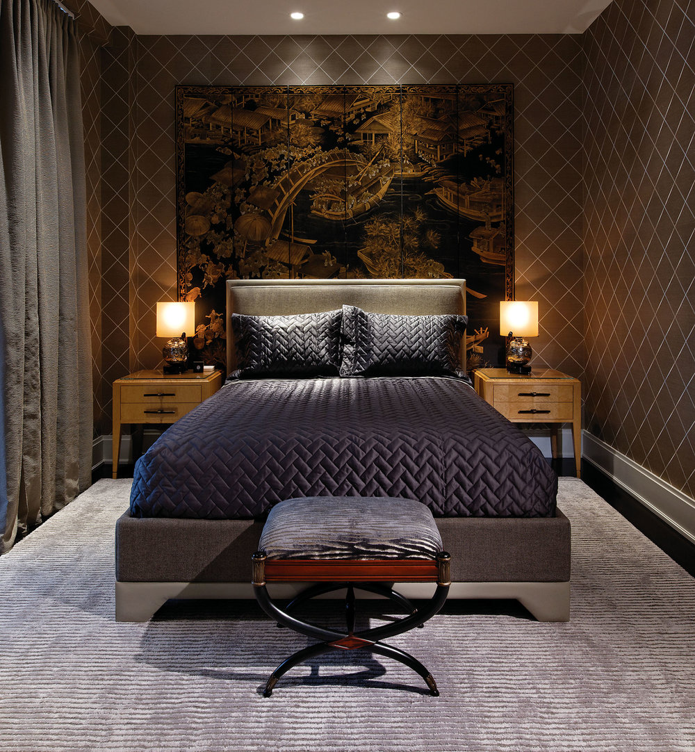 A mixture of darks and lights, Chinese coromandel panels and Biedermeier-style furnishings combine to create Hollywood glamour on the masculine end of the spectrum. All carpets in the home are bespoke pure silk.