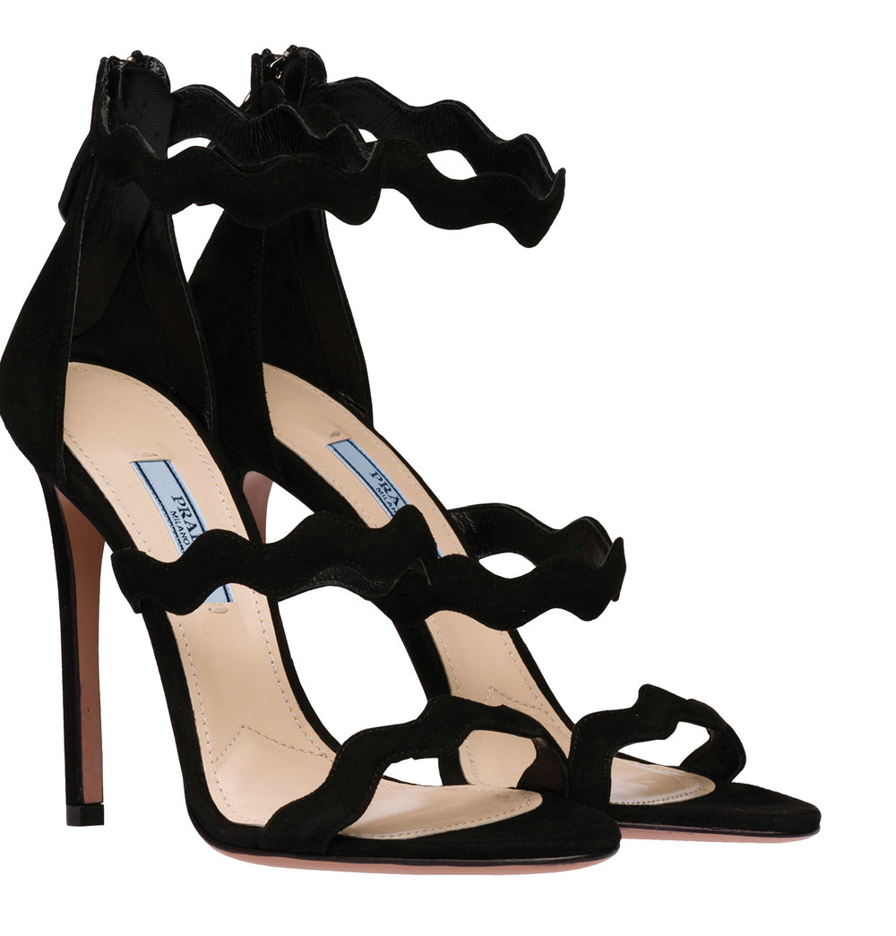 Suede Sandals Wave Motif by Prada‭ ‬$930,  prada.com