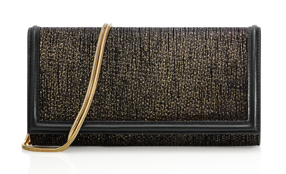 Caviar Shimmer Leather Clutch with Detachable Chain Strap by St. John‭ ‬$650, stjohnknits.com