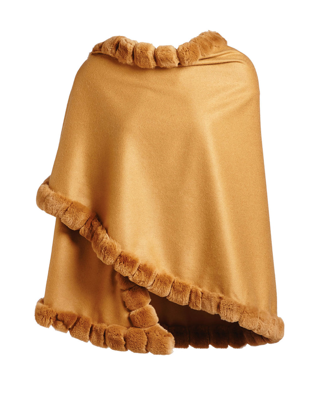 Asymmetric Cashmere Wrap w/ Rabbit Fur, Camel by La Fiorentina $1,198,  neimanmarcus.com