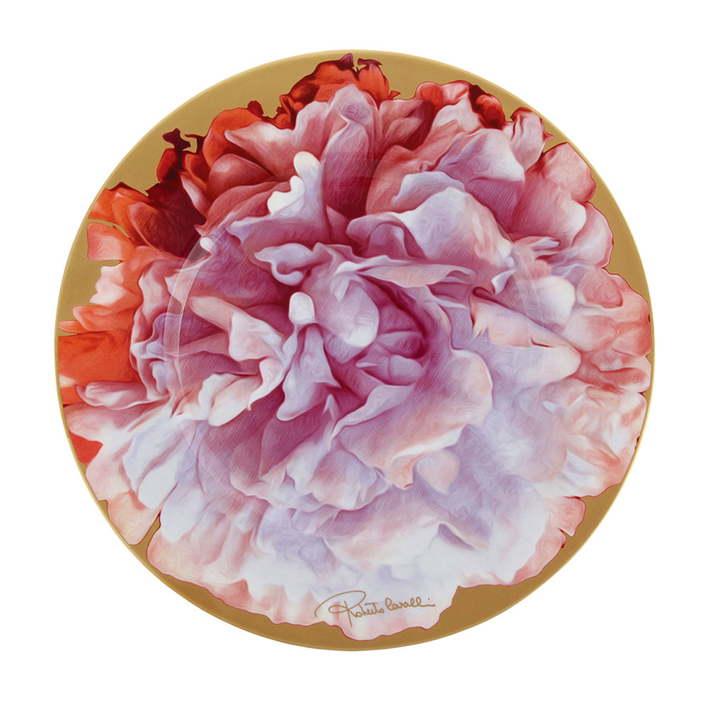 1.Eden Charger Plate, Pink, by Roberto Cavalli Home $350,  ca.amara.com