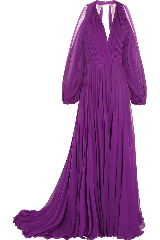 2.Cutout Pleated Silk-Chiffon Gown by Jenny Packham 禮服長裙 US$4,800, net-a-porter.com