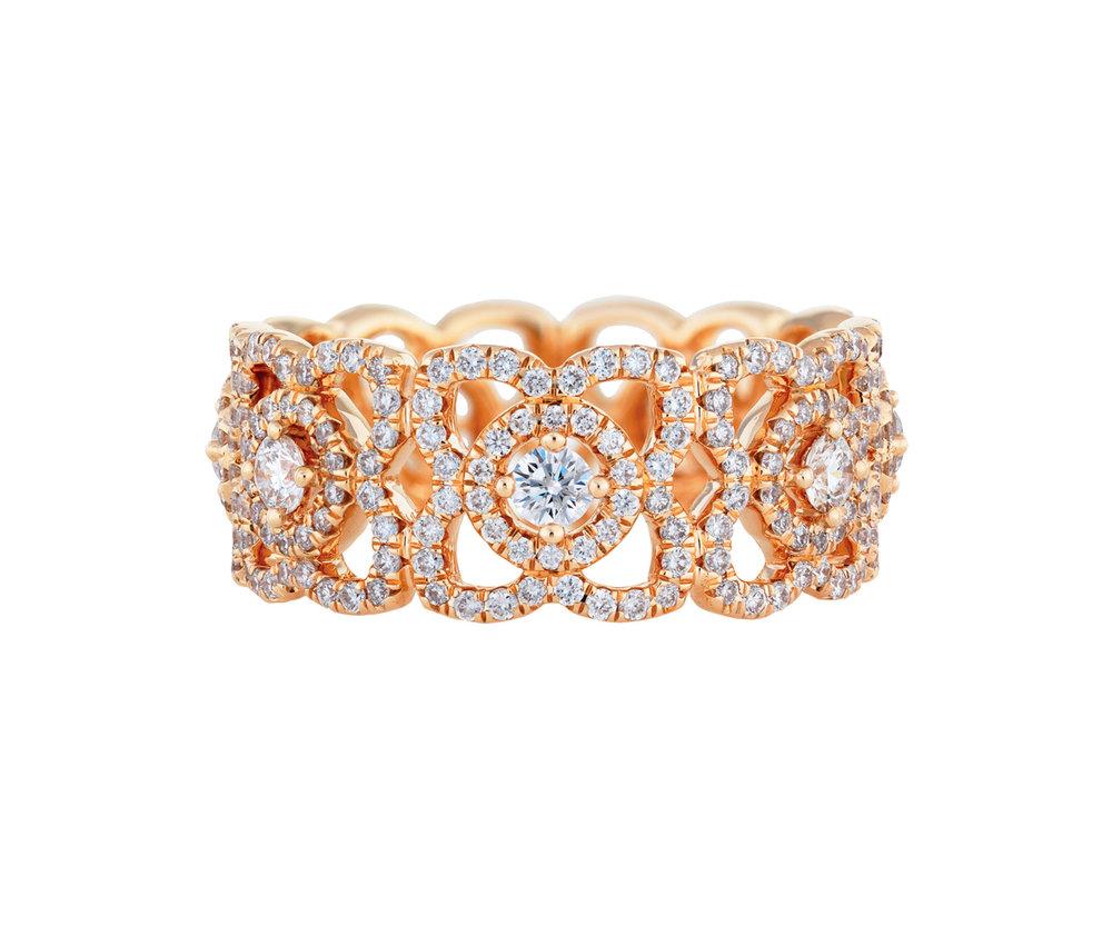 4.Enchanted Lotus Pink Gold Band by De Beers $7,800,  Debeers.ca
