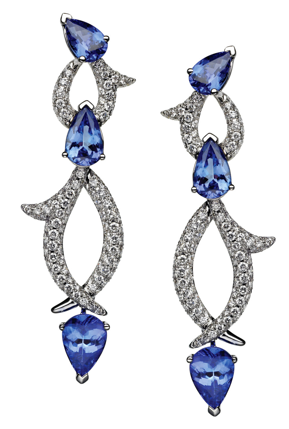 3.Earrings with Sapphires & Diamonds in 18k White Gold by Palladio Jewellers Price upon request,  palladiocanada.com
