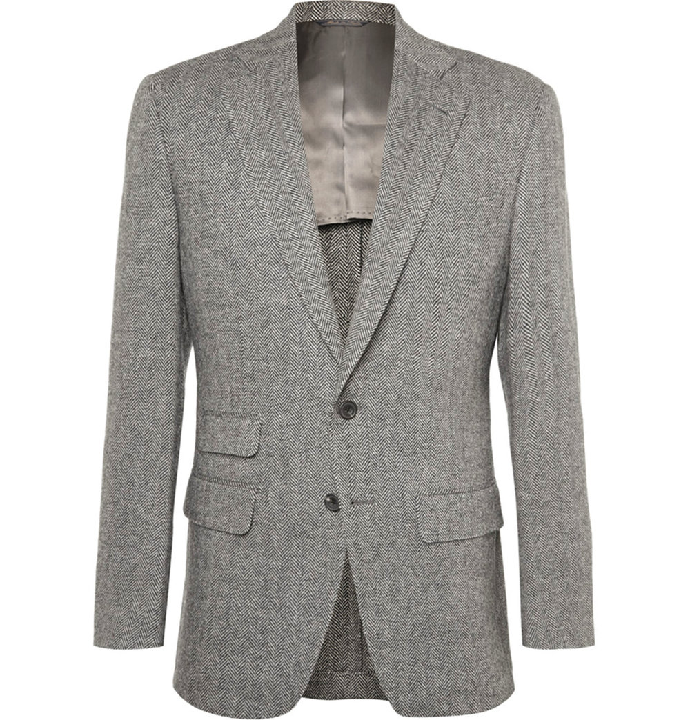 3.Grey Slim-Fit Herringbone Wool Suit Jacket by Thom Sweeney‭ ‬$1,621,  mrporter.com
