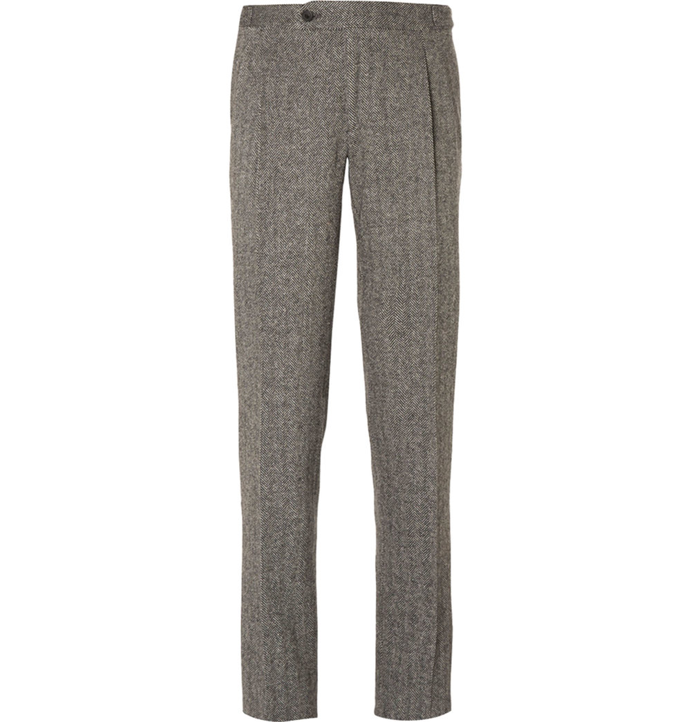 10.Grey Slim-Fit Herringbone Wool Suit Trousers by Thom Sweeney $576,  mrporter.com