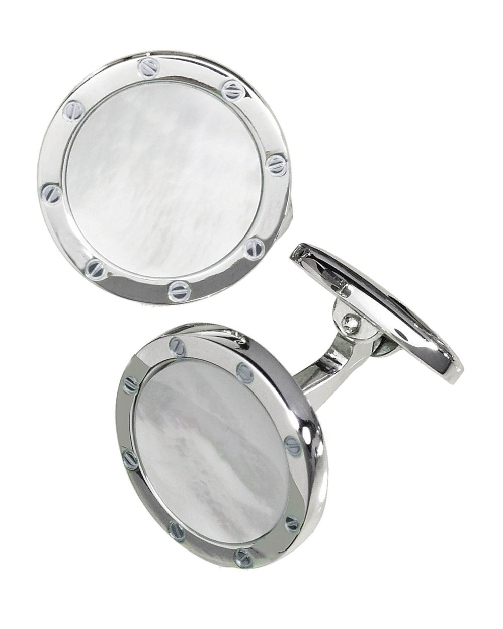8.Round Mother-of-Pearl Cufflinks by Jan Leslie $545,  bergdorfgoodman.com