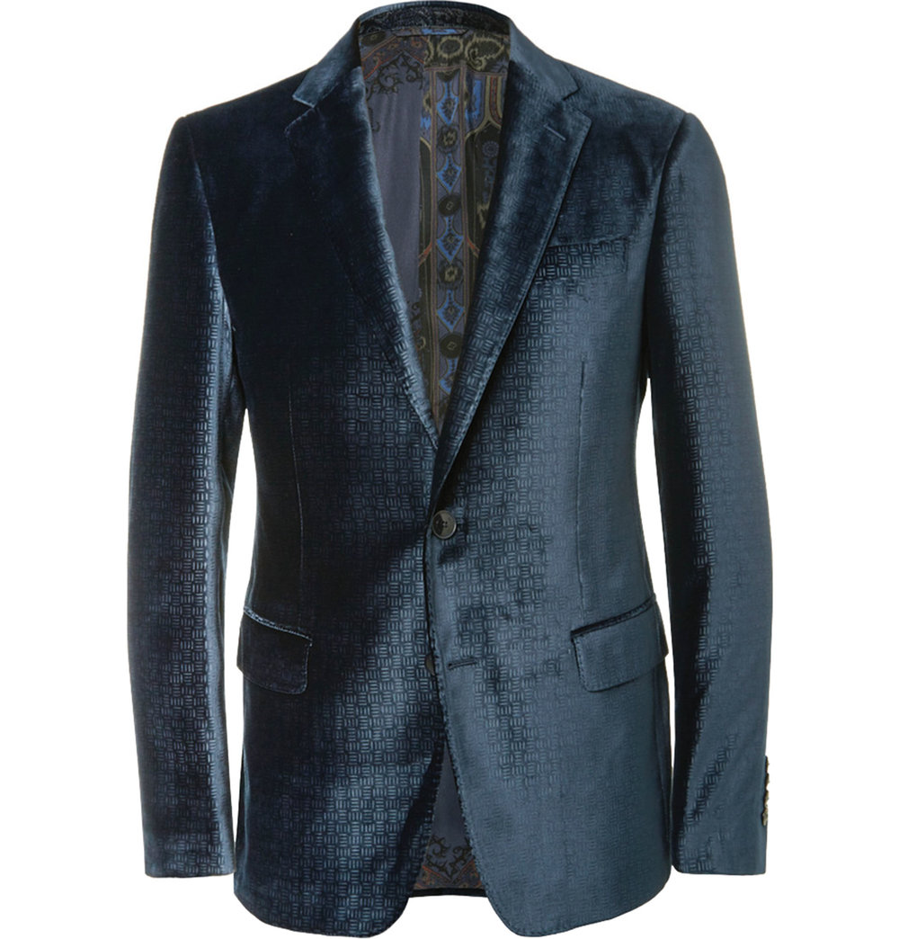 1.Blue Slim-Fit Debossed Velvet Blazer by Etro $1,793,  mrporter.com