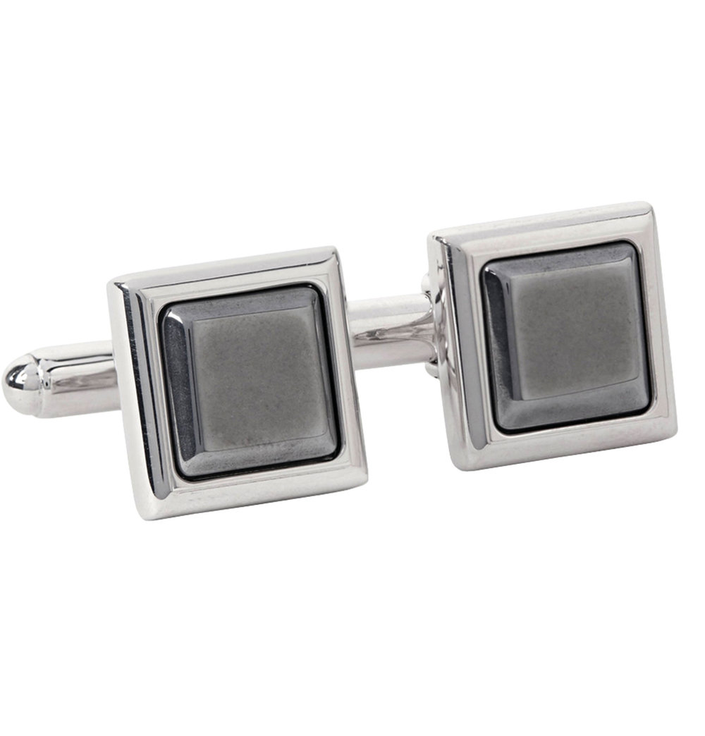 6.Silver-Tone and Hematite Cufflinks by Prada $524,  mrporter.com