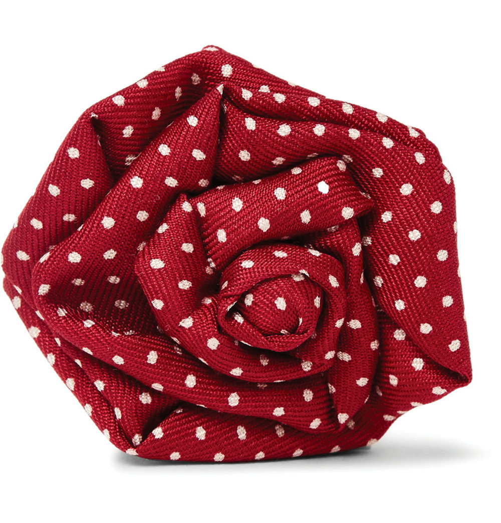 2.Polka-Dot Silk-Faille Flower Lapel Pin by Charvet‭ ‬$177,  mrporter.com