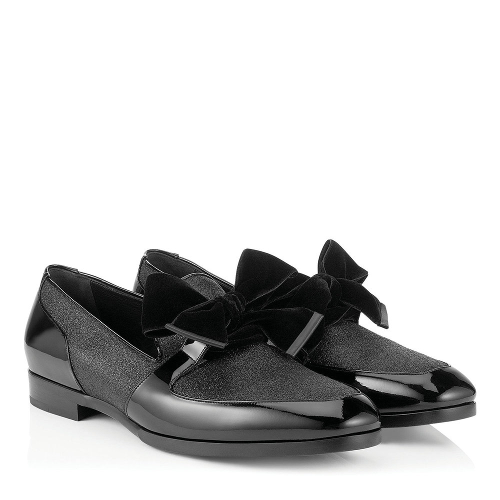 10.Fred Black Fine Glitter and Patent Slippers with Velvet Bow by Jimmy Choo US$725,  jimmychoo.com