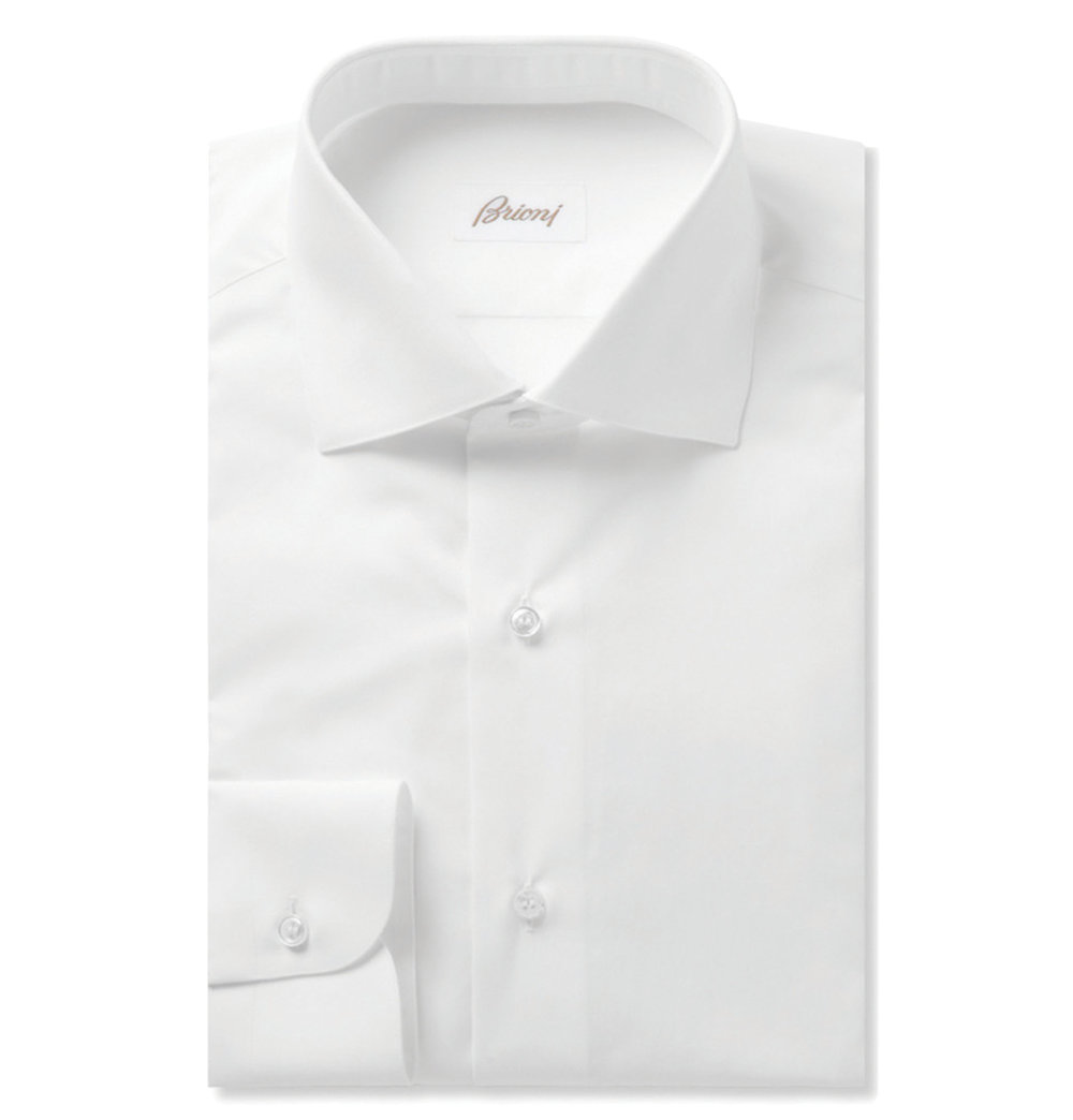 7.White Cotton Shirt by Brioni ‬$582,  mrporter.com