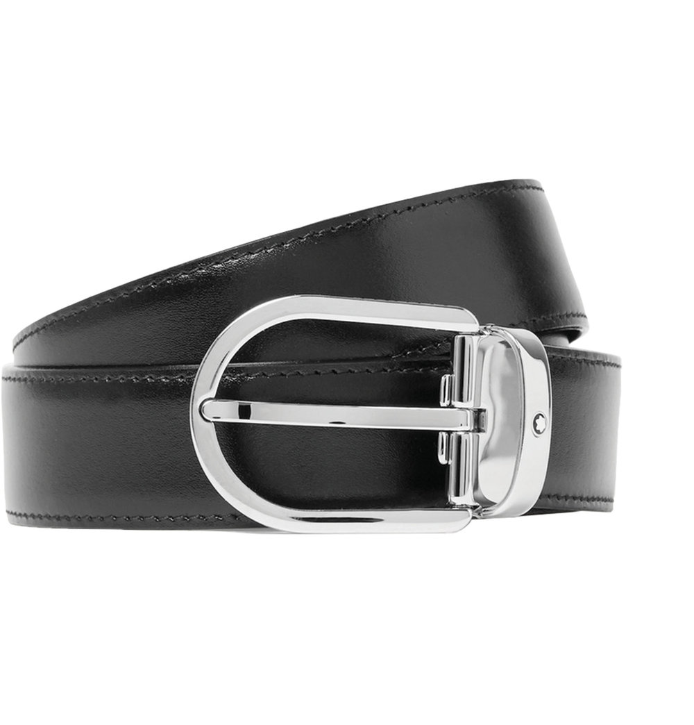 6.Black Leather Belt, 3cm, by Montblanc  ‬$294,  mrporter.com