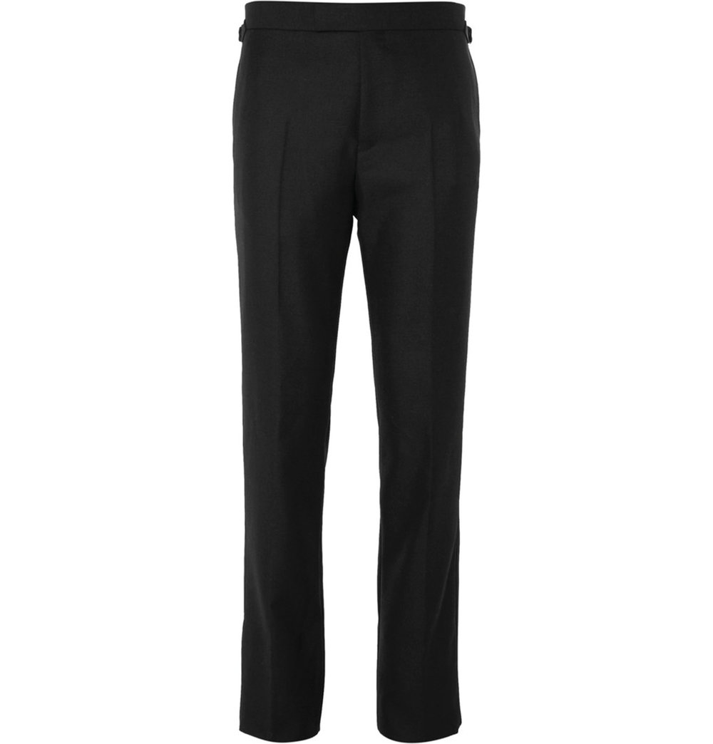 4.Black Harry Slim-Fit Wool and Mohair-Blend Tuxedo Trousers by Kingsman $929,  mrporter.com