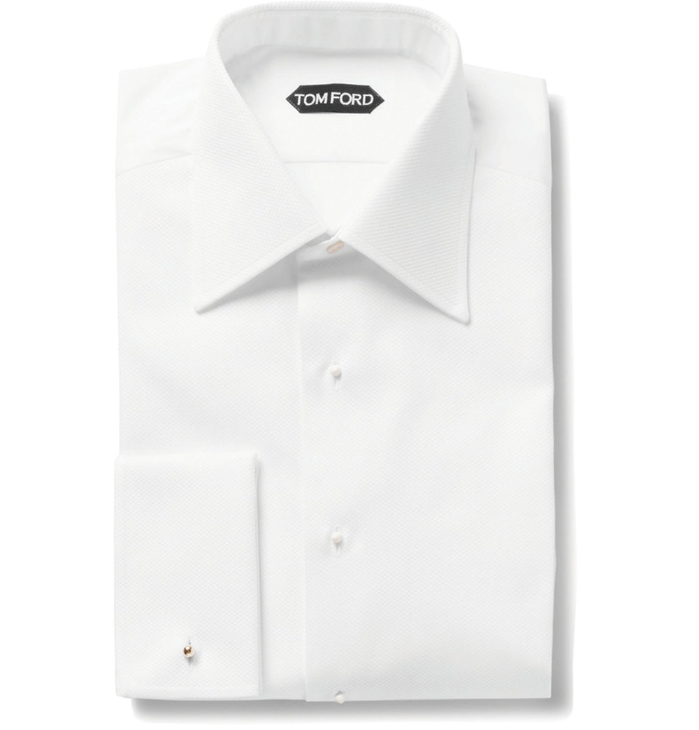 1.White Slim-Fit Bib-Front Double-Cuff Cotton Tuxedo Shirt by Tom Ford $838,  mrporter.com