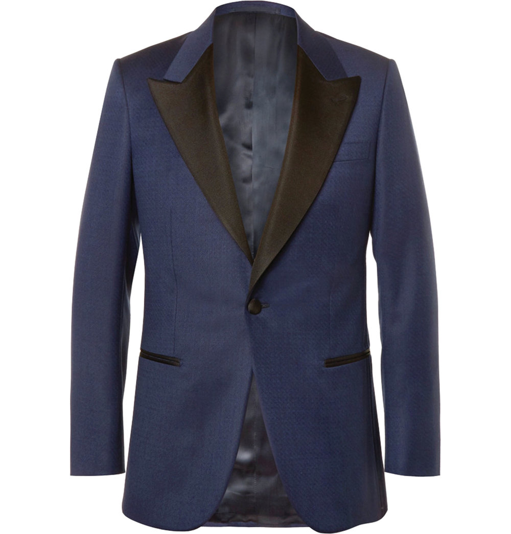 2.Blue Slim-Fit Faille-Trimmed Checked Wool Tuxedo Jacket by Kingsman $2,277,  mrporter.com