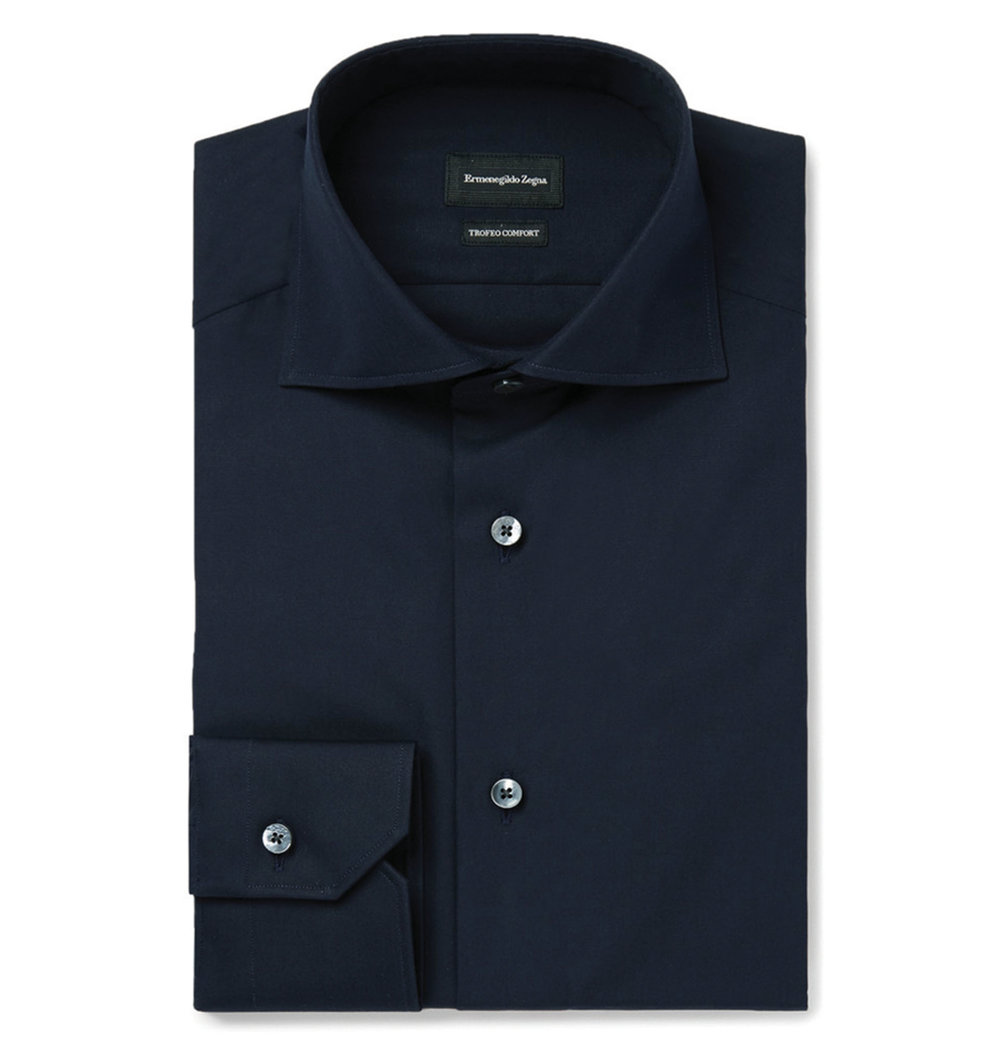 4.Blue Slim-Fit Cutaway-Collar Trofeo Cotton Shirt by Ermenegildo Zegna $451, mrporter.com