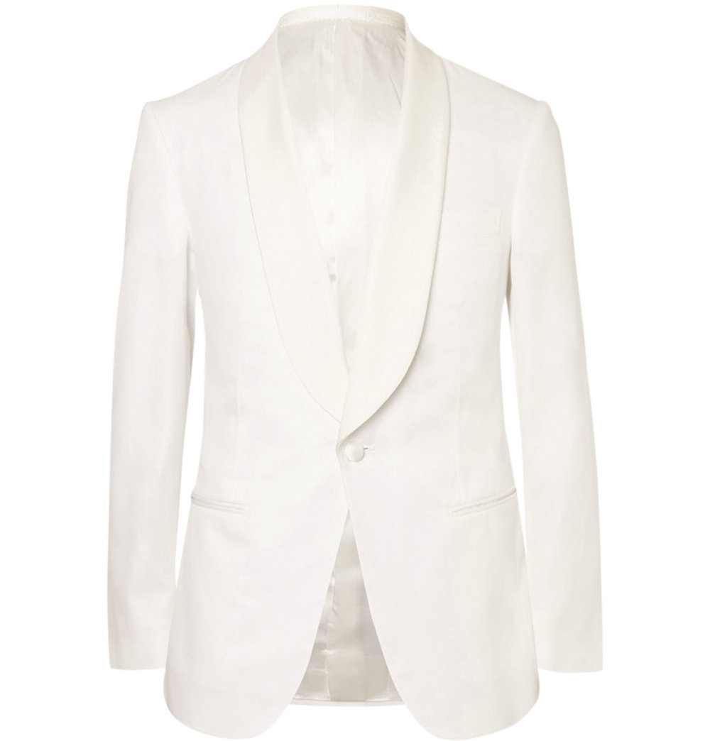 3.White Harry Slim-Fit Faille-Trimmed Cotton Tuxedo Jacket by Kingsman $2,274,  mrporter.com