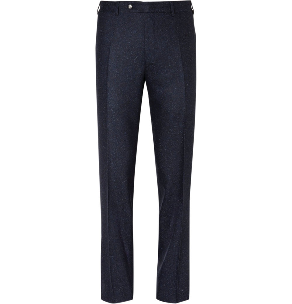 8.Blue Sienna Slim-Fit Slub Wool and Silk-Blend Suit Trousers by Canali $555,  mrporter.com