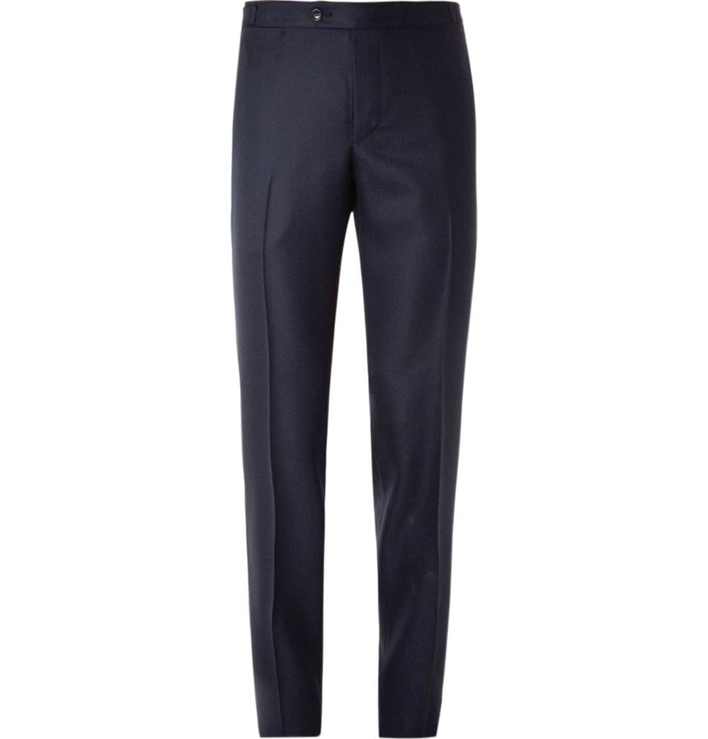 10.Navy Slim-Fit Textured-Wool Trousers by Thom Sweeney ‬$576,  mrporter.com